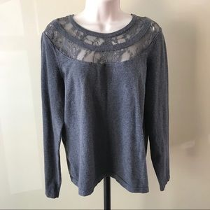 Vince Camuto Gray Lace Trim Sweater Size M